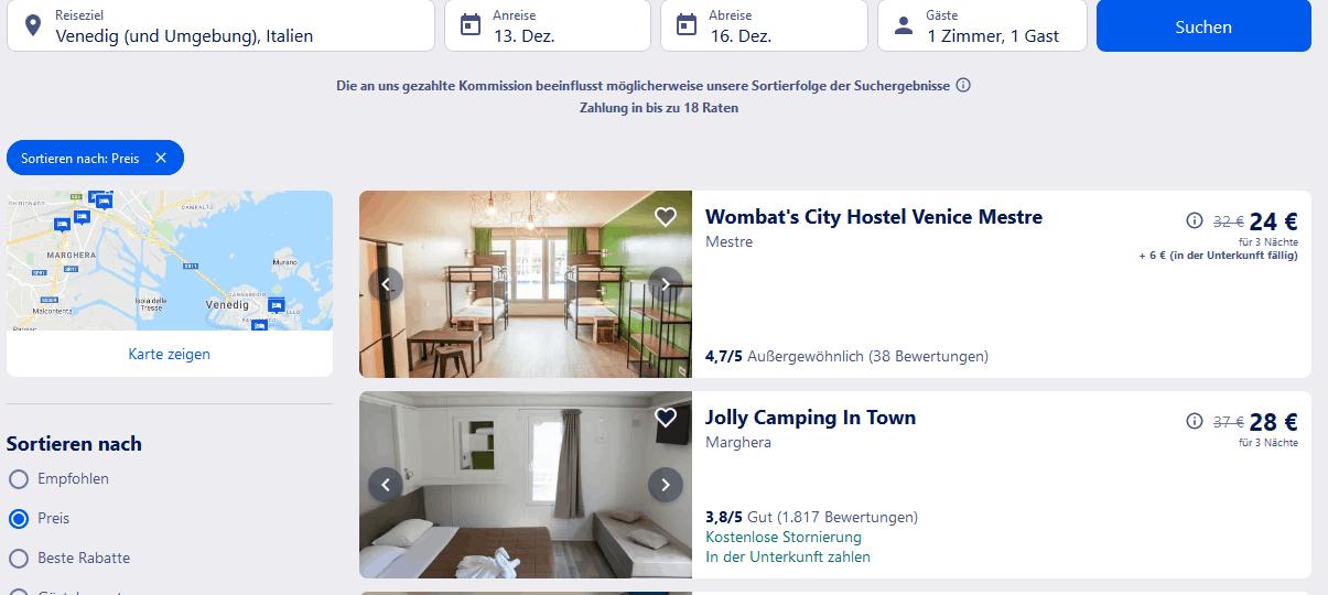 Hotel Suchergebnisse für Venedig und Umgebung Italien - Screenshot