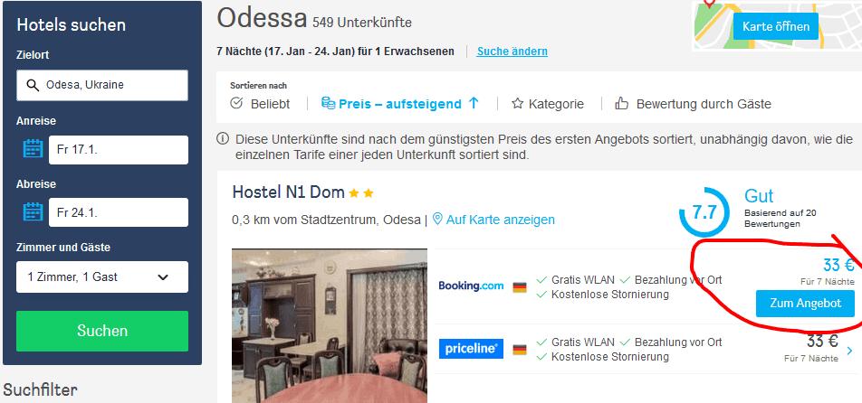 Odesa 17.01. — 24.01. Hotel für 33,00€ die gesamte Woche
