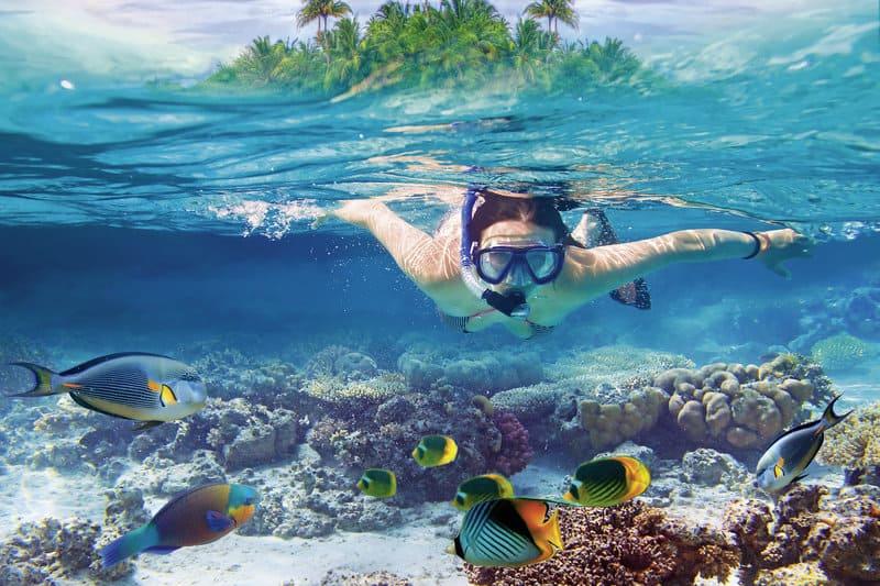 Schnorcheln ist hier vor allem für Kinder ein exklusives Erlebnis in dem flachen Wasser