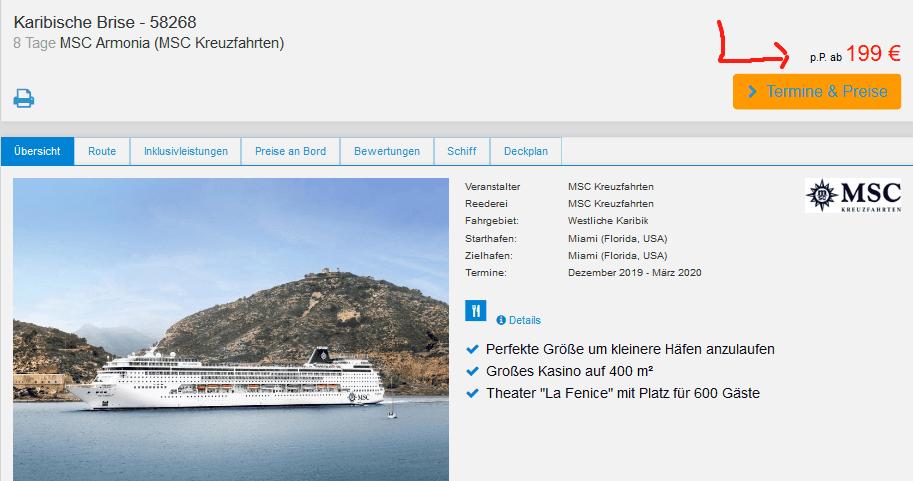 Screenshot Angebot MSC Armonia - 8 Tage Kreuzfahrt nur 199,00€ Karibik