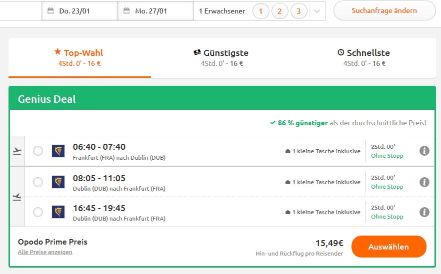 Screenshot Deal Dublin Urlaub - ab 87,49€ Flüge & Unterkunft