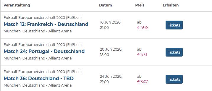 Screenshot Deal EM 2020 Tickets - Alles zur UEFA Europameisterschaft