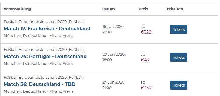 Screenshot Deal EURO 2020 - EM Tickets Deutschland ab 329,00€