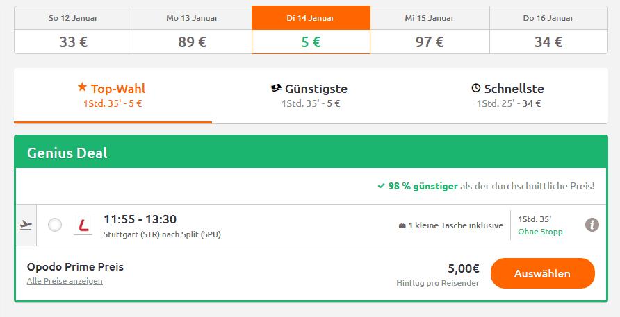 Screenshot Deal Flüge nach Split - nur 5,00€ Kroatien Billigflüge