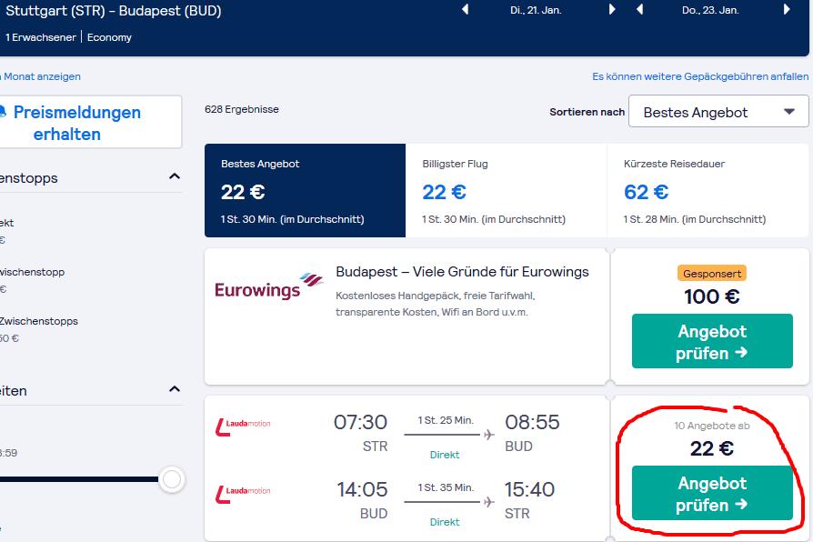 Screenshot Deal Junggesellenabschied Budapest - nur 32,00€ p.P Flug und Hotel