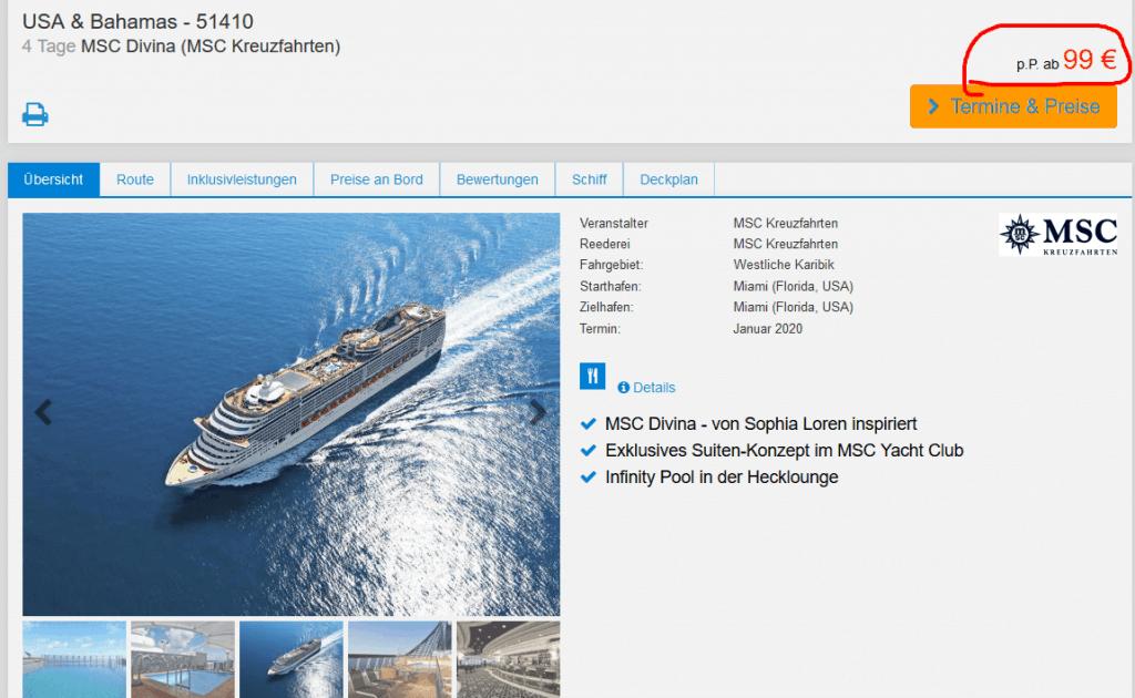 Screenshot Deal MSC Divina - Kreuzfahrt Bahamas nur 99,00€ Miami Kreuzfahrten