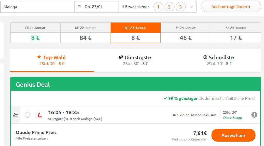 Screenshot Deal Mala Flug - 99% günstiger nur 7,81€ Flüge nach Andalusien