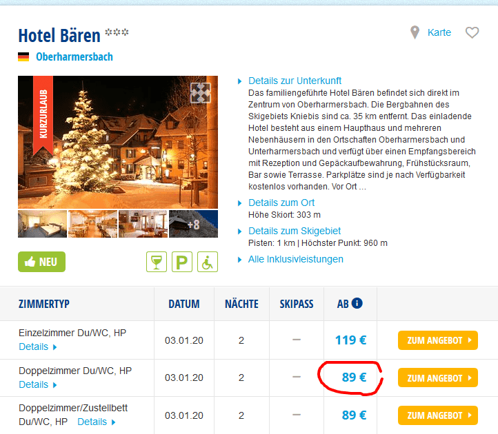 Screenshot Deal Skiurlaub Silvester - ab 89,00€ Neujahr im Schnee