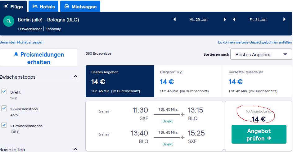 Screenshot Deal Städtetrip Bologna - nur 59,00€ Flug und Hotel Reise