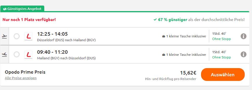 Screenshot Deal Tagestrip Mailand 67% billiger - nur 28,62€ Flug & Hotel