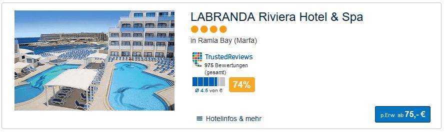 Screenshot eine Woche für den Reisezeitraum 06.01-13.01 nur 75,00€ p.P Malta Reisen - Flug & Hotel nur 57,98€ eine Woche