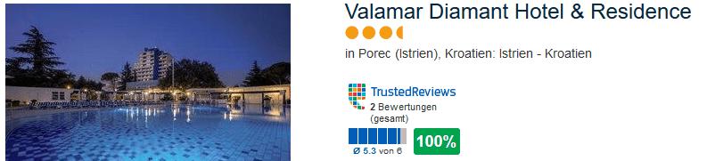 100% positive Bewertung hat das 4 Sterne Hotel in Kroatien
