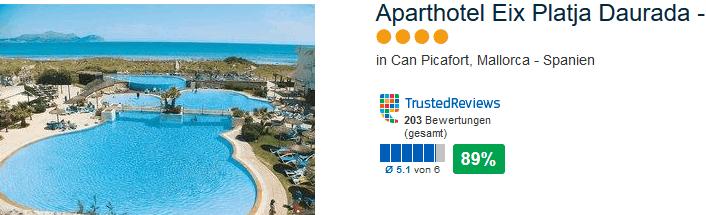 89% positive Bewertung das 4 Sterne Hotel in Can Picafort - Aparthotel Eix Platja Daurada - Appartements