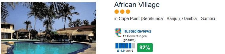 American Village Gambia - drei Sterne Hotel mit 92% positiver Bewertung