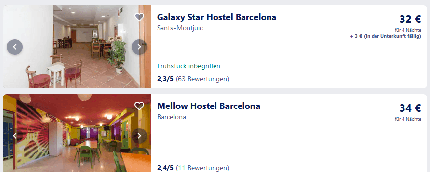 Hotel Deals in Barcelona ab 32,00€ für 4 Nächte Screenshot