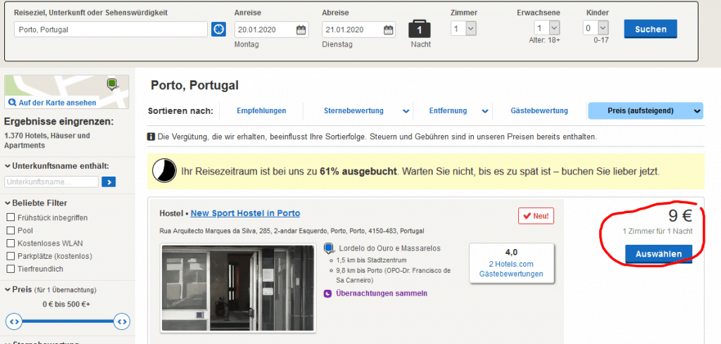 Hotels in Porto Portugal ab 9,00€ die Nacht