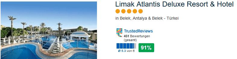 Limak Atlantis Del uxe Resort & Hotel - 91% positive Bewertung hat das 5 Sterne Hotel