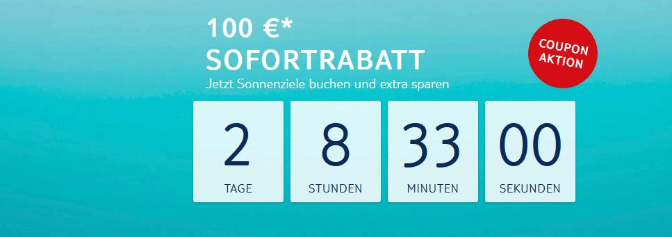 Screenshot Aktion -Pauschalreisen Coupon Aktion - 100,00€ Sofortrabatt