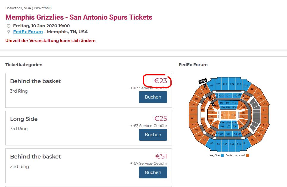 Screenshot Beispiel Spiel - NBA Tickets ab 23,00€ - Basketball USA günstig erleben
