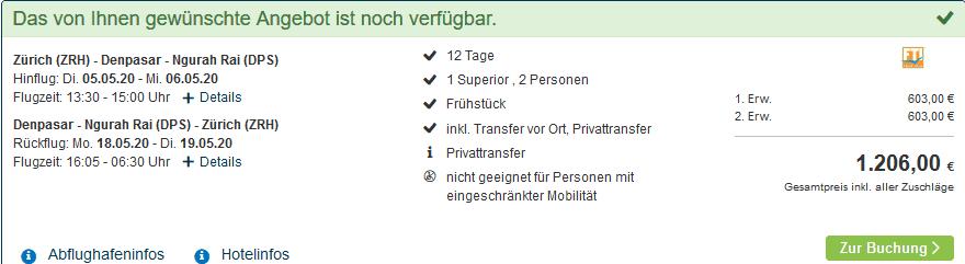 Screenshot Deal Bali Urlaub - 2 Wochen Pauschal nur 603,00€ Indonesien