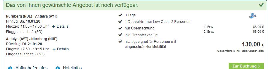 Screenshot Deal Billig Urlaub Türkei - ab 65,00€ Preisvergleich der Reiseveranstalter