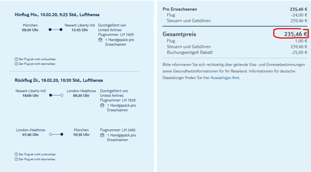 Screenshot Deal Billigflüge New York - nur 235,46€ Flug Hin & Zurück