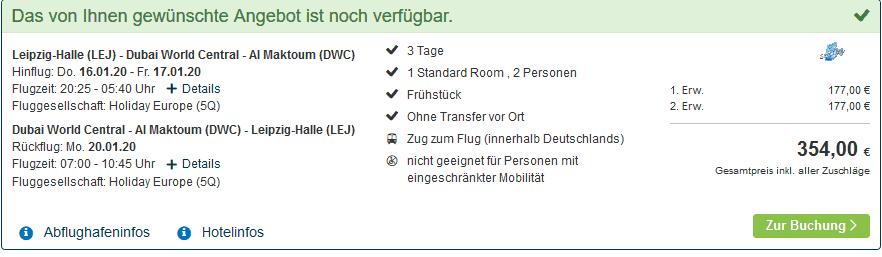 Screenshot Deal Dubai Deals - ab 177,00€ Pauschalreisen 3 Nächte