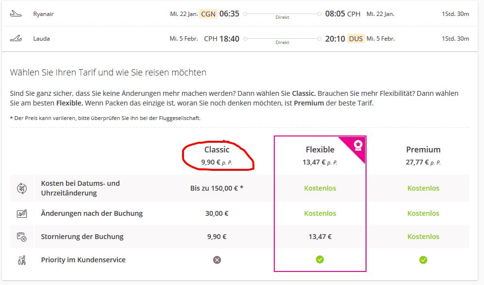 Screenshot Deal Flüge nach Kopenhagen - ab 9,99€ Hin & Zurück