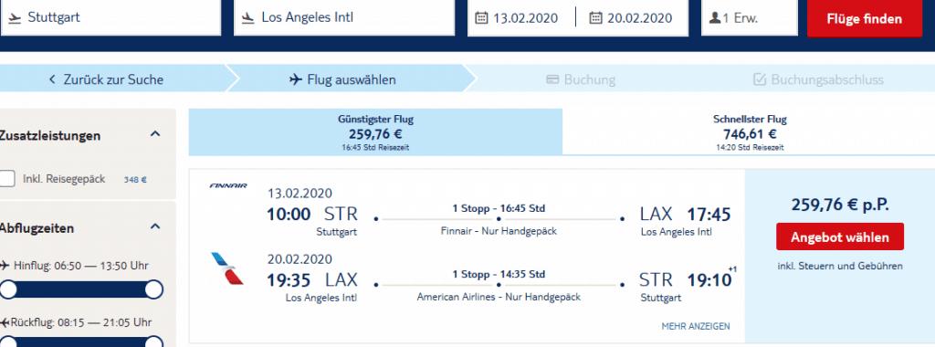 Screenshot Deal Flüge nach Las Angeles - nur 259,97€ hin & zurück