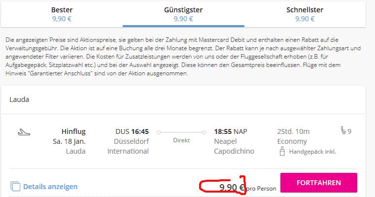 Screenshot Deal Flüge nach Neapel nur 10,00€ - Kampanien Urlaub günstig