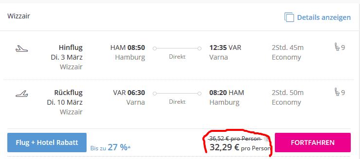 Screenshot Deal Flüge nach Varna - nur 32,29€ Bulgarien Flug Hin & Zurück