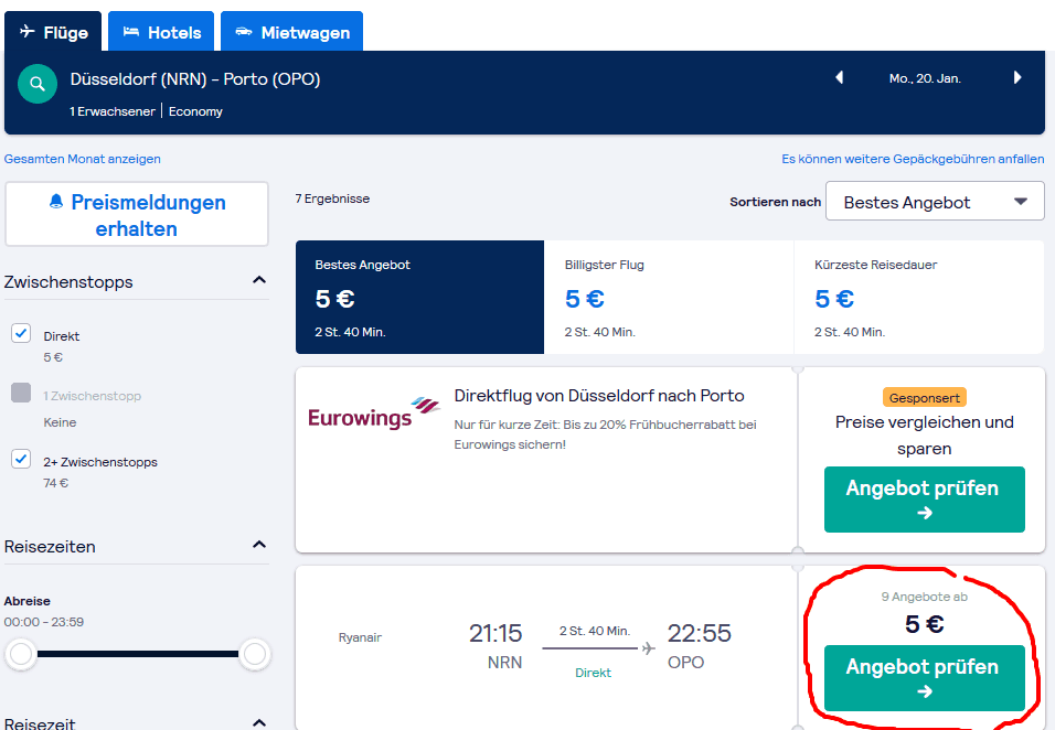 Screenshot Deal Flug nach Porto - ab 5,00€ hier buchen Billigflüge Portugal