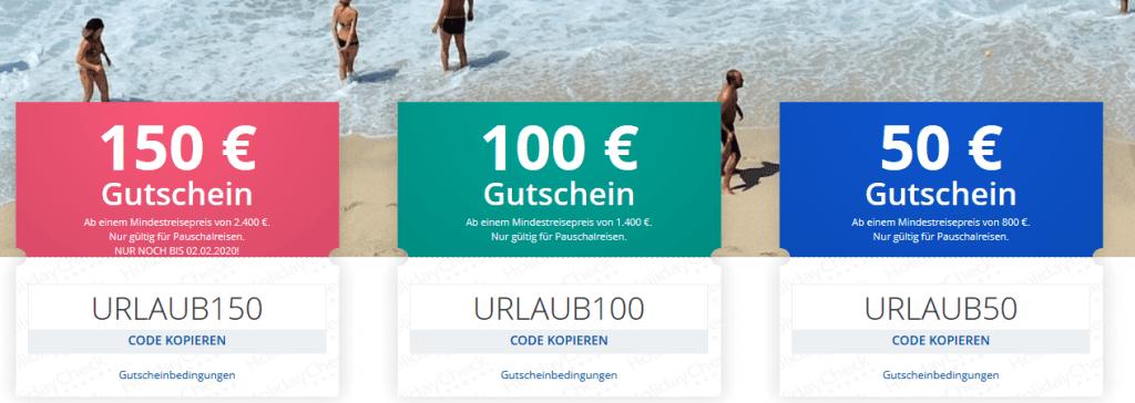 Screenshot Deal Gutschein Holidaycheck  - 150,00€ Gutscheincode