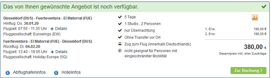 Screenshot Deal Last Minute Fuerteventura - Pauschalreisen nur 190,00€