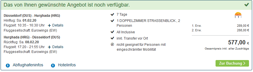 Screenshot Deal Last Minute Hurghada - nur 289,00€ 5 Sterne All Inclusive
