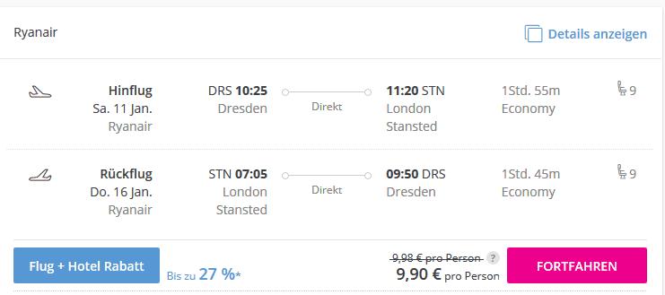 Screenshot Deal London Flüge - 92% günstiger ab 9,90€ Hin- & Rückflug
