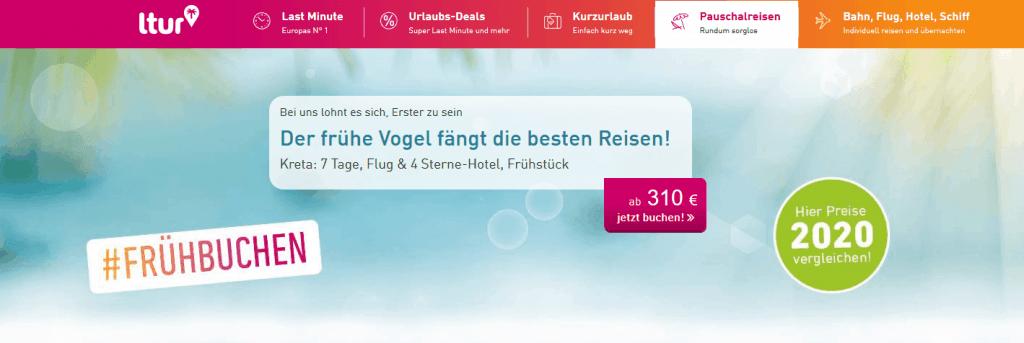 Screenshot Deal Ltur Pauschalreisen - 100,00€ Frühbucherrabatt Rabattcode Ltur