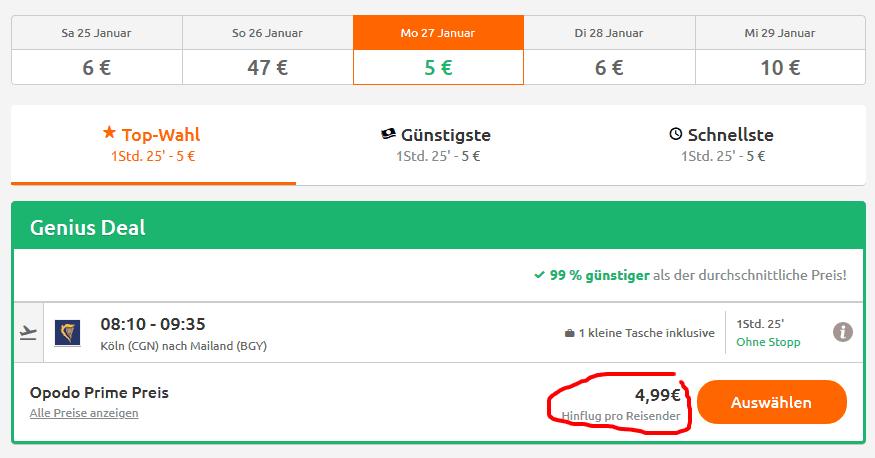 Screenshot Deal Mailand Flug 99% günstiger - ab 4,99€ Billigflüge buchen