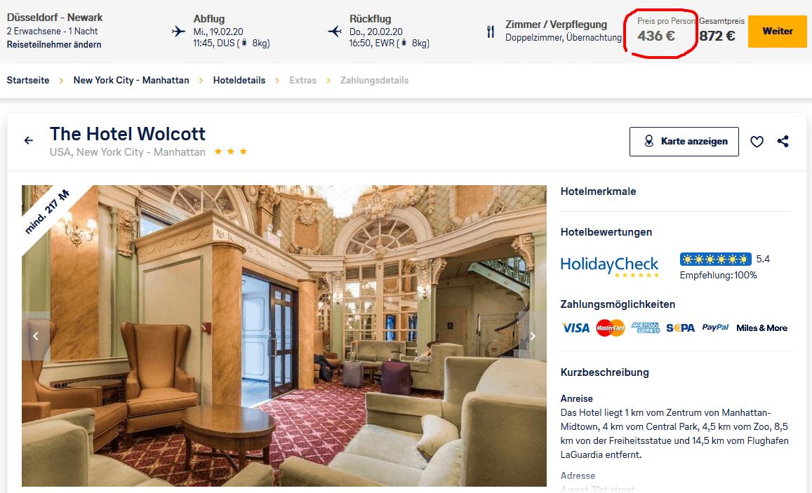 Screenshot Deal New York Urlaub - ab 436,00€ Flug und Hotel