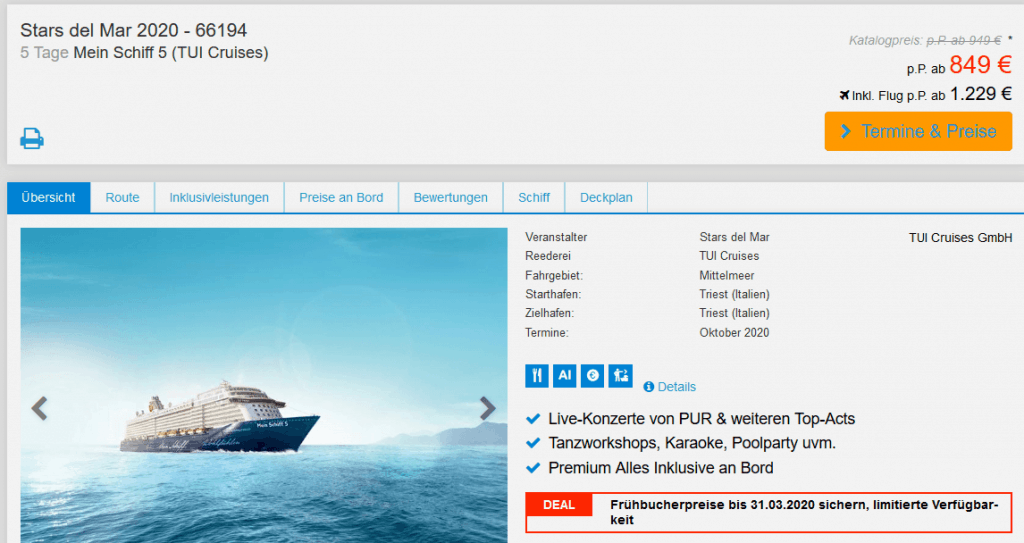 Screenshot Deal Stars del Mar 2020 - ab 849,00€ Mein Schiff