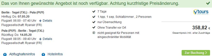 Screenshot Deal Vabriga - eine Woche nur 179,41€ Porec Urlaub
