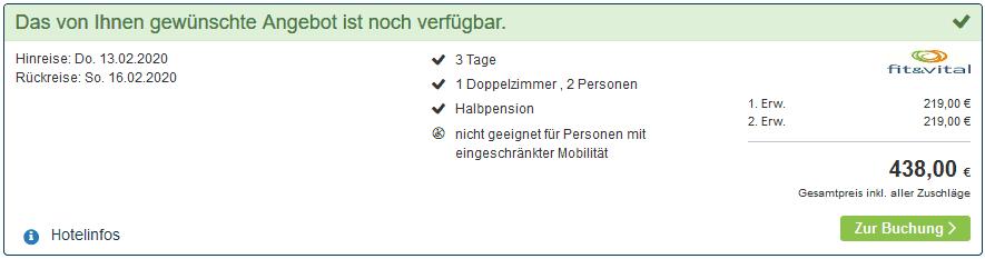 Screenshot Deal Valentinstag Kurzurlaub - in der Mitte Deutschlands 219,00€