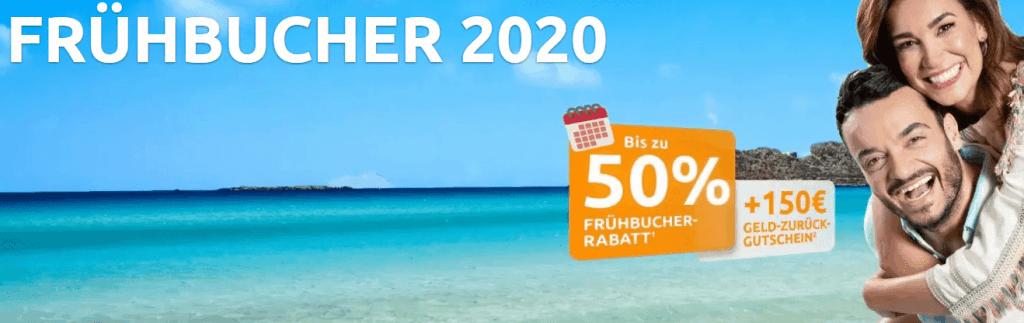 Screenshot Deal Weg de Gutschein - 150,00€ Cashback & 50% Frühbucher Rabatt