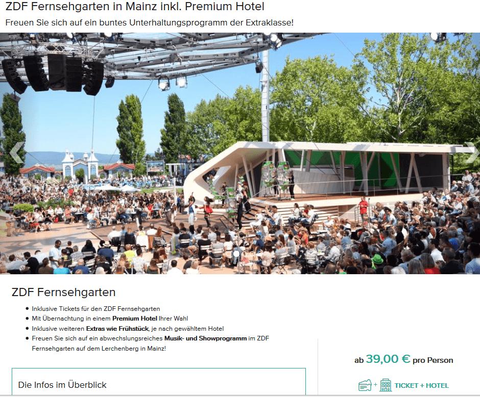 Screenshot Deal ZDF Fernsehgarten Tickets und Hotel - ab 39,00€ Mainz
