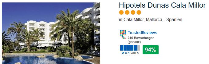 Top Deal 4 Sterne 94% positive Bewertung - Hipotels Dunas Cala Millor - direkte Strandlage