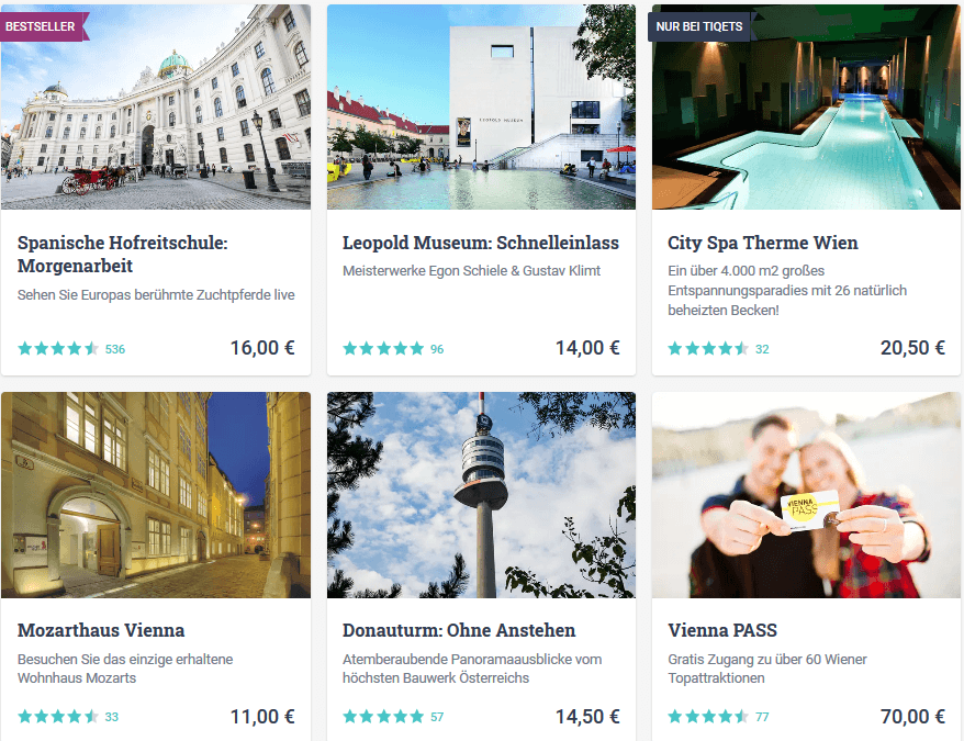 Attraktionen in Wien Österreich buchen - Screenshot Angebote