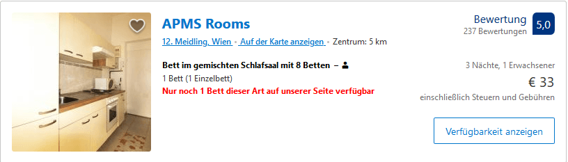 Screenshot Deals Booking Hotels in Wien. Buchen Sie jetzt Ihr Hotel
