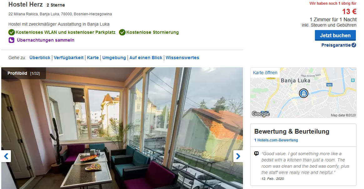 Hostel Herz in Banja Luka – Screenshot