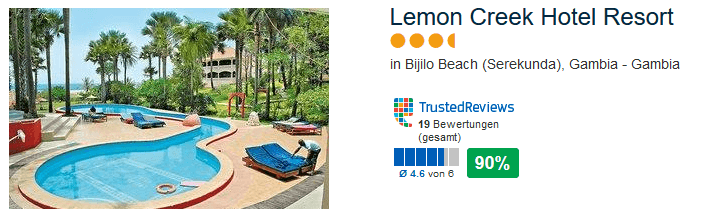 Lemon Creek Hotel Resort - 4 Sterne 90% positive Bewertung bei TrustedReviews