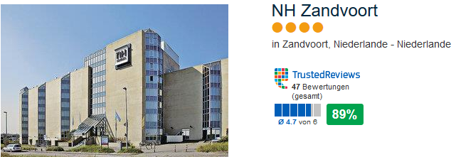 NH Zandvoort - 4 Sterne Hotel 89% positive Bewertung